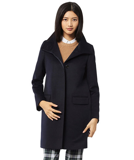 Uniqlo Cashmere Blended Stand Collar Coat Navy