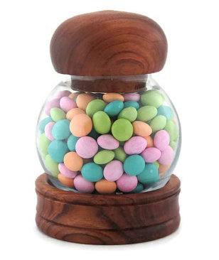 Wood-Topped Candy Jar