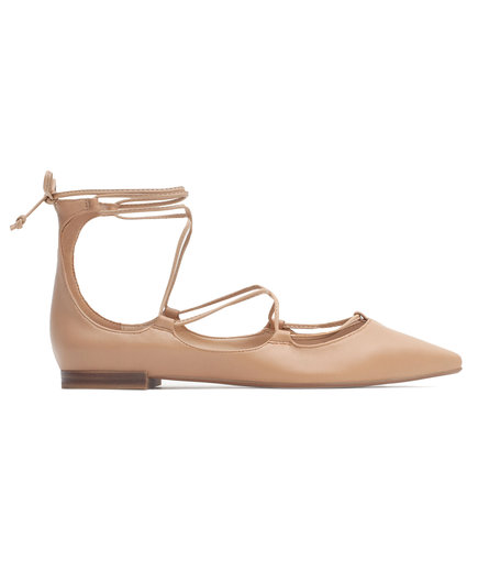 Zara Tie-up Leather Ballerinas