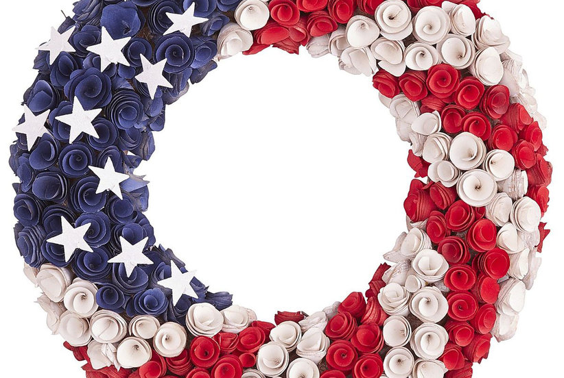 Patriotic Wood Curl Wreath 8 Festive Decorations For A