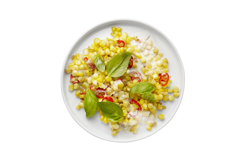 Sautéed Corn With Coconut Milk, Chili, and Basil   Real Simple