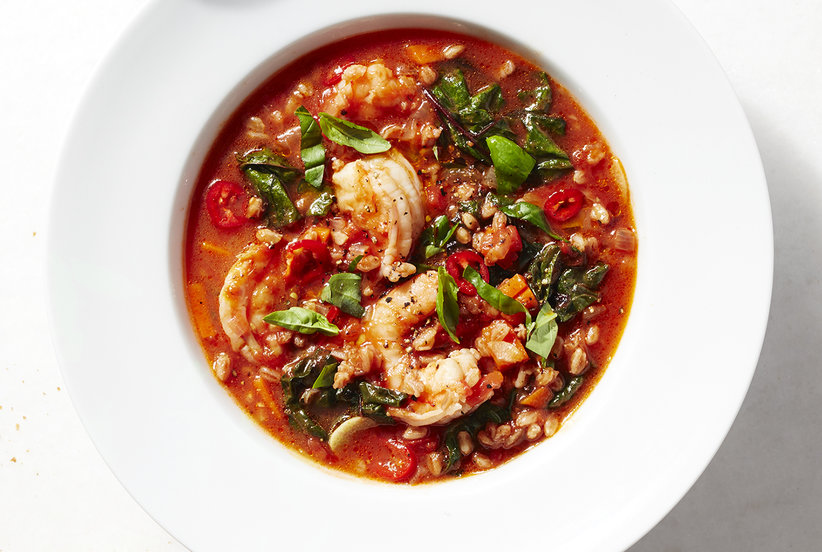 Spicy Shrimp And Farro Soup With Winter Greens Recipe Real Simple