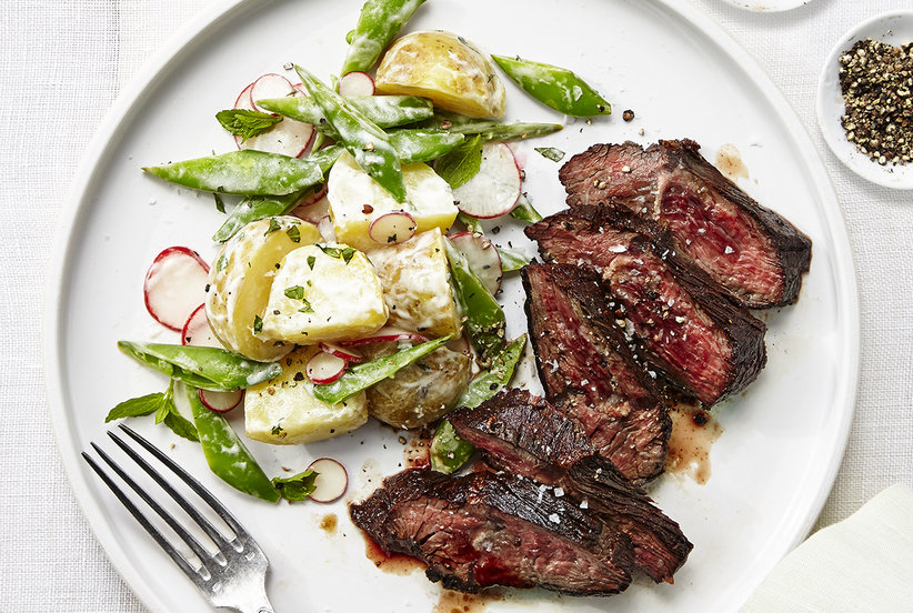 Seared Steak and Potato Salad with Peas and Radishes