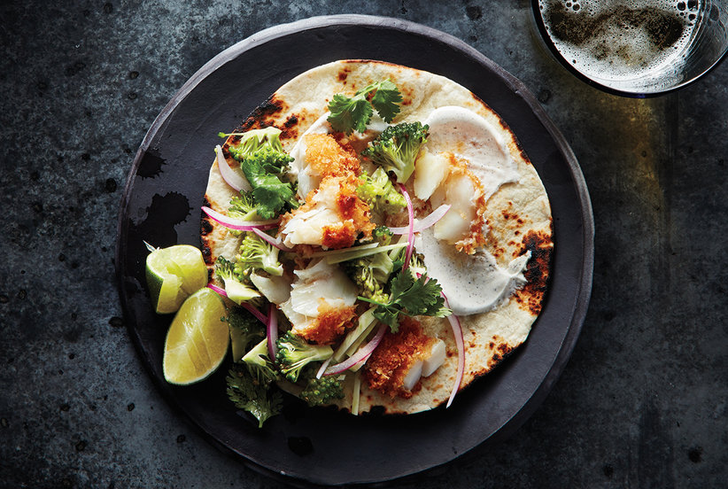 Fish tacos with broccoli slaw and cumin sour cream recipe for Easy slaw for fish tacos