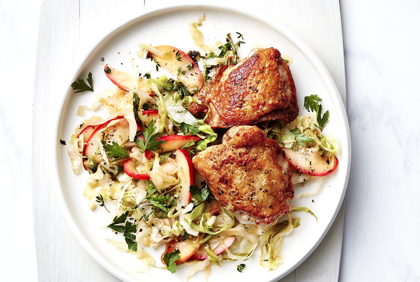 Pan-Roasted Chicken With Braised Apple and Cabbage