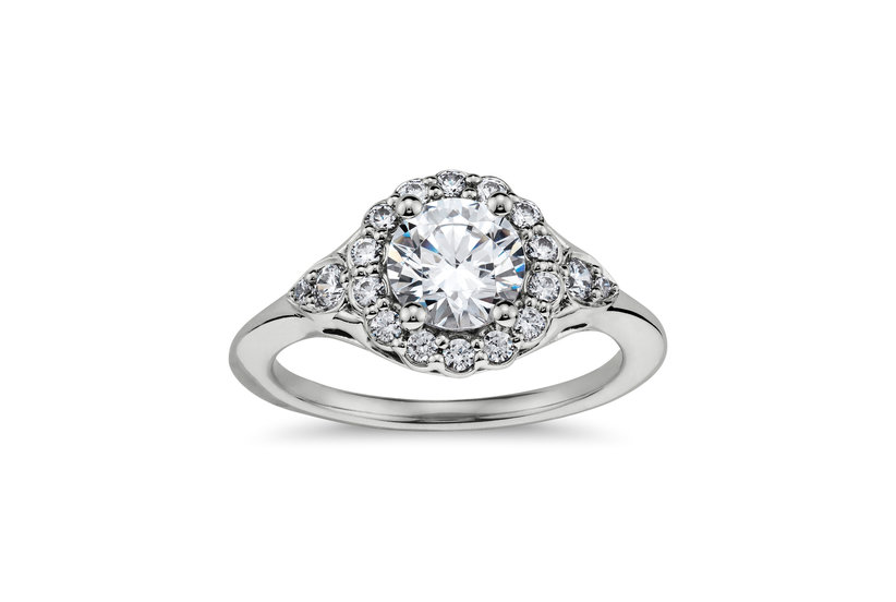 Flora Vida Halo Diamond Engagement Ring in Platinum