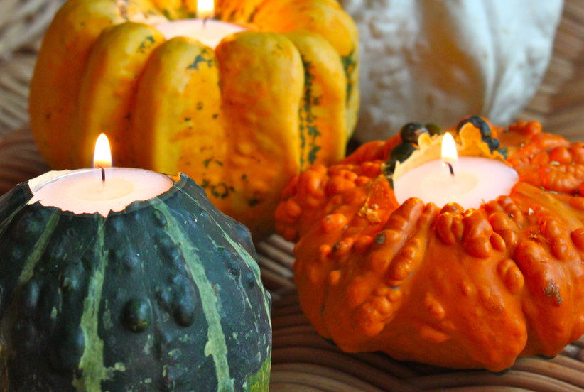 Gourd Candle Holders Gourd Craft Ideas Real Simple