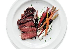 seared strip steaks with sweet and sour carrots and
