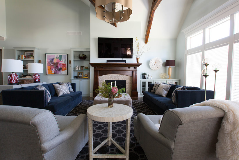 how a plain large living room transformed into a cozy multipurpose