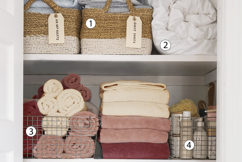 5 smart tips to organize your linen closet real simple. Black Bedroom Furniture Sets. Home Design Ideas