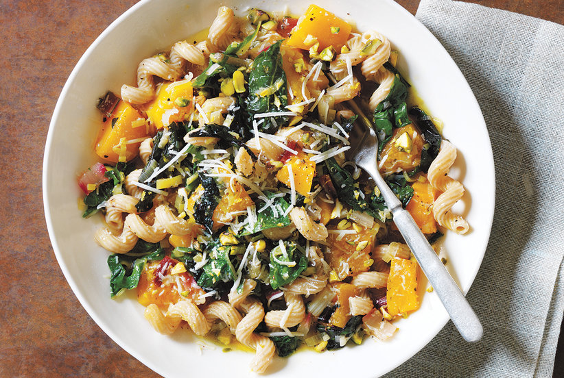 Whole-Wheat Pasta With Braised Squash, Chard, and Pistachios
