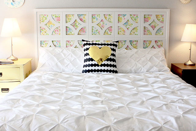 vintage sheet headboard 7 diy headboards that are truly one of a kind real simple. Black Bedroom Furniture Sets. Home Design Ideas