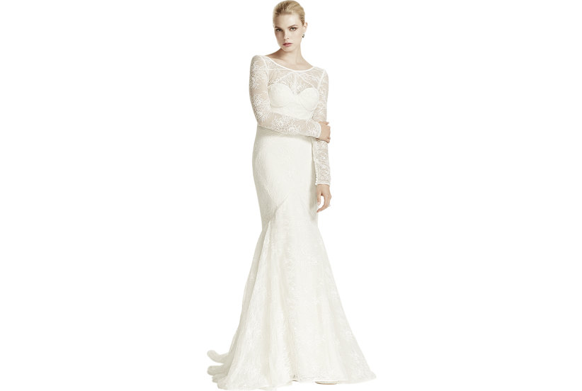 Truly zac posen lace trumpet long sleeve illusion neck for Where to buy off the rack wedding dresses