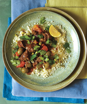 Slow-Cooker Lamb, Apricot, and Olive Tagine