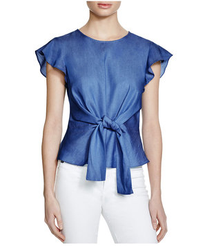 lucy-paris-belted-ruffle-sleeve-chambray-top