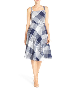 taylor-dresses-check-stretch-cotton-fit-flare-dress