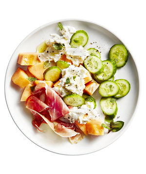 Melon, Cucumber, and Burrata Salad
