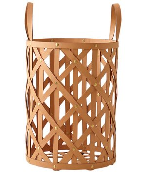 woven-leather-cylinder-basket