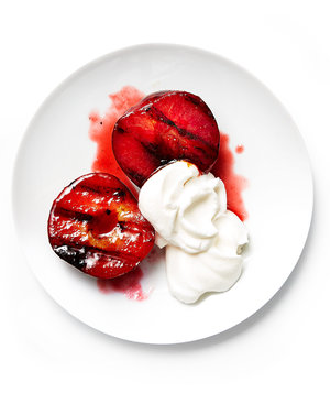 Grilled Pluots With White Chocolate Cream