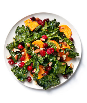 Kale With Roasted Cranberries and Sweet Potatoes
