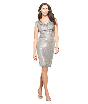 dressbarn-metallic-drape-neck-dress