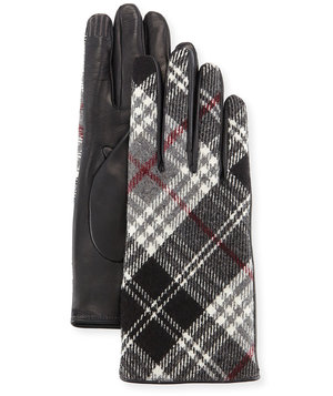 plaid-leather-gloves