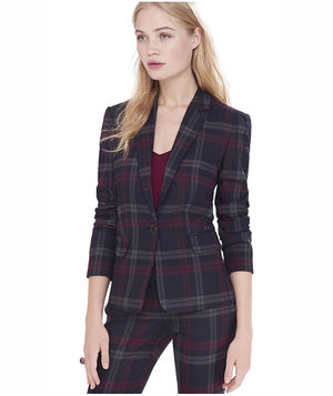 express-berry-plaid-one-button-jacket