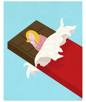 woman-sleeping-chocolate-bar