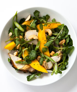 chicken-watercress-mango-mint-salad