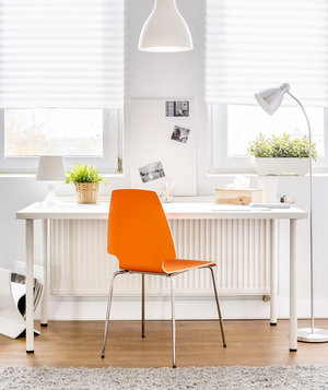 white-desk-orange-chair