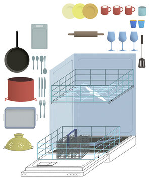 illustration-dishwasher-dishes