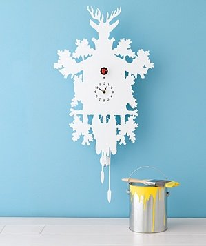 white-clock-yellow-paint