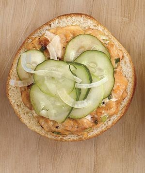 pickled-cucumbers-salmon-burger