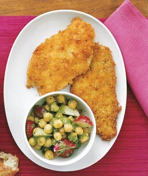 chicken-cutlets-chickpeas-pesto-salad