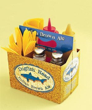 dogfish head brown ale box as condiment tray with forks, keptchup, mustard
