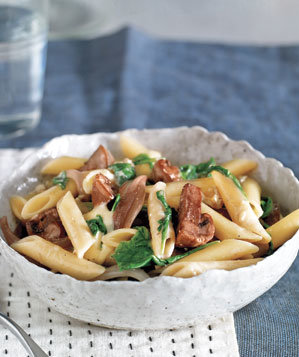 pasta-brie-mushrooms-arugula
