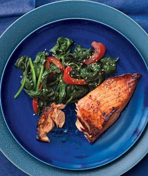 Honey-Soy Glazed Salmon With Spinach and Peppers Recipe | Real Simple