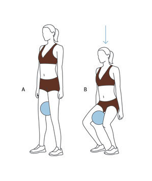 move 3 squat with ball  trim your inner thighs with easy