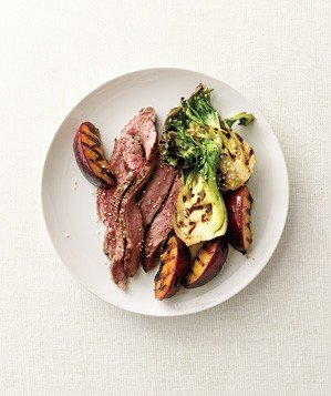 grilled-steak-plums-bok-choy