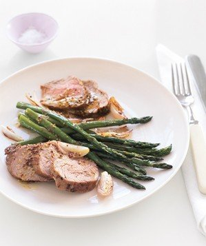 Pork and Asparagus With Mustard Vinaigrette Recipe | Real Simple