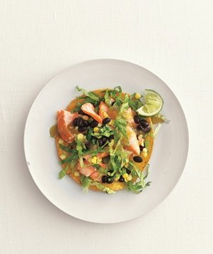 salmon-blackbean-corn-tostadas
