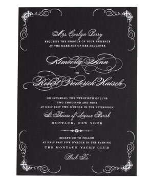 Wedding Gift Ideas Real Simple : Ceci NY white script on a black wedding invitation