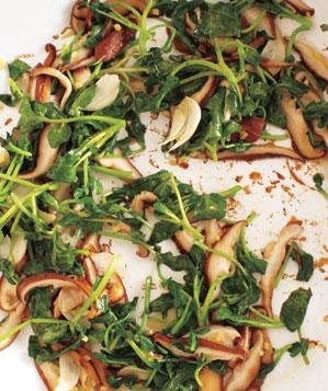 watercress-shiitakes
