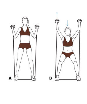 move 3 squat with overhead press  easy resistanceband