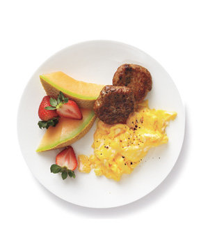 eggs-turkey-sausage-fruit