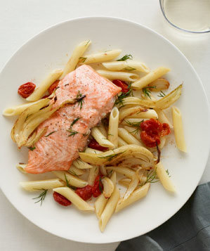 roast-salmon-vegetables-penne-dill
