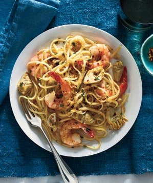 linguine-shrimp-artichokes