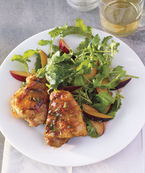 honey-mustard-chicken-plum-arugula-salad