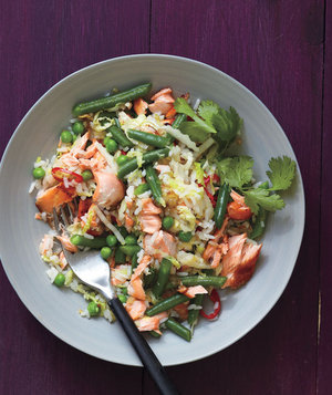 salmon-fried-rice-cabbage
