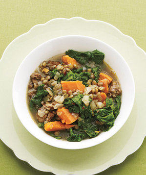 Lentil Stew With Mustard Greens and Sausage Recipe | Real Simple